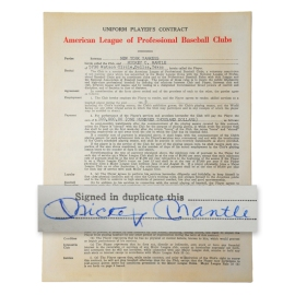 1963 Mickey Mantle NY Yankees Signed Contract