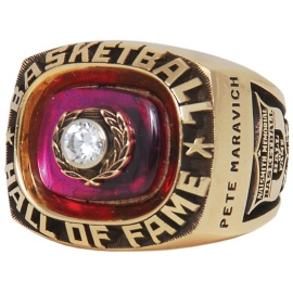"1987 ""Pistol"" Pete Maravich Hall of Fame Induction Ring"