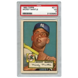 1952 Mickey Mantle Topps Rookie Card - PSA/DNA Graded VG 3