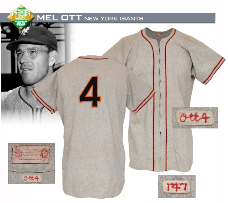 1947 Mel Ott New York Giants Player/Manager's Worn Road Jersey