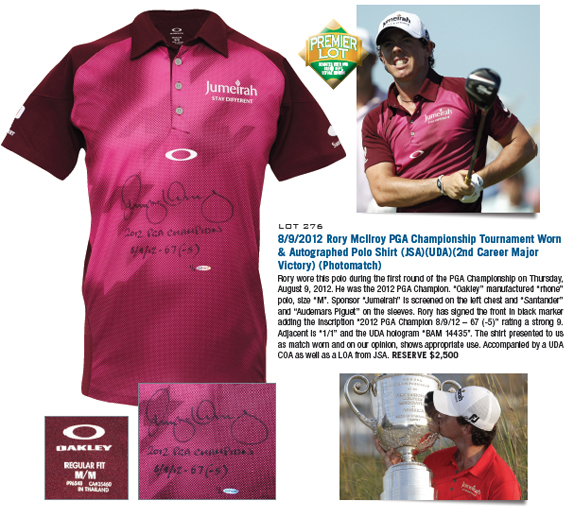 8/9/2012 Rory McIlroy PGA Championship Tournament Worn & Autographed Polo Shirt