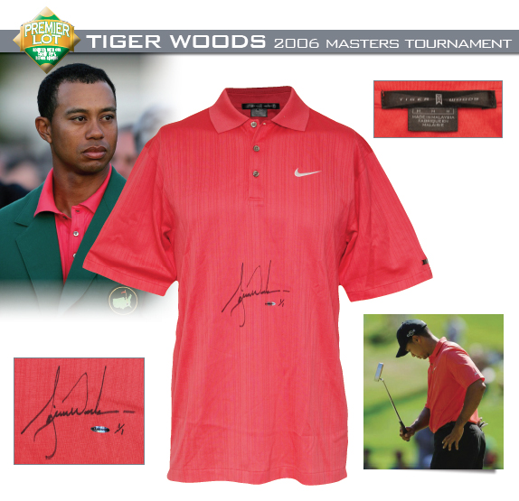 2006 Tiger Woods Masters Tournament-Worn & Autographed Signature Sunday Red Polo Shirt