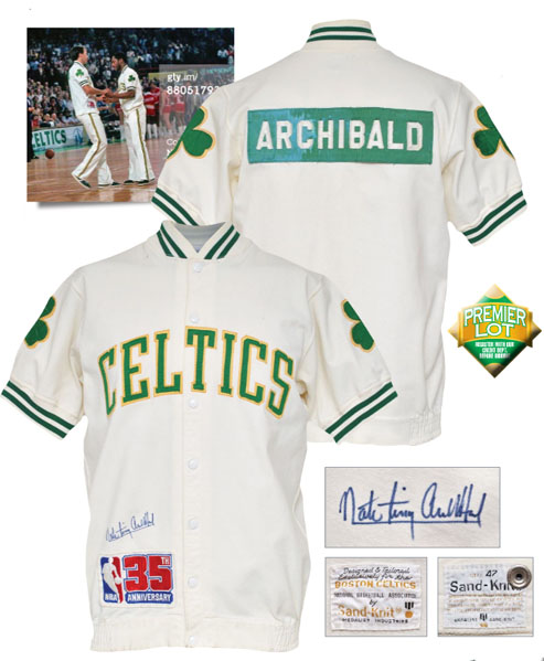 "LOT #118 1980-81 Nate ""Tiny"" Archibald Boston Celtics Worn & Autographed Home Warm-Up Jacket (JSA • Championship Season • HoF LOA)"