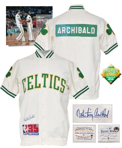 "LOT #118 1980-81 Nate ""Tiny"" Archibald Boston Celtics Worn & Autographed Home Warm-Up Jacket (JSA • Championship Season • HoF LOA)"