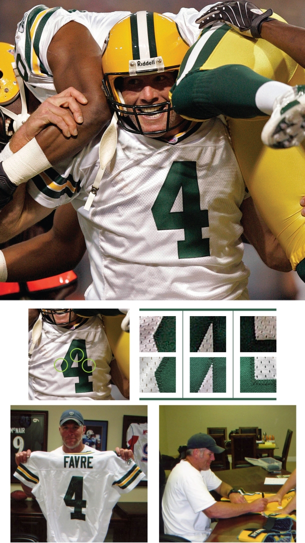 9/30/2007 Brett Favre Green Bay Packers Game-Used & Autographed Complete Road Uniform