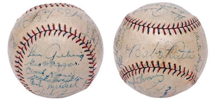 """1927 New York Yankees """"Murderers' Row"""" Team Signed Official American League Baseball"""