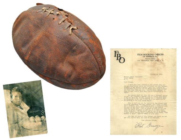 "Harold Edward ""Red"" Grange Signed Football & TLS Presented to ""Little"" Johnny Sylvester"