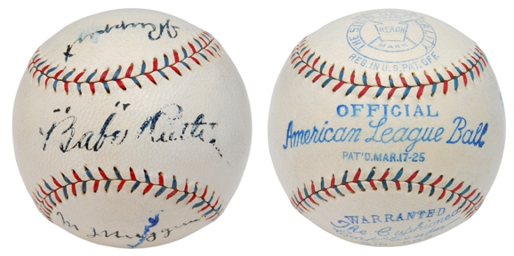 Historically Important NY Yankees Official American League Baseball Autographed By Babe Ruth, Miller Huggins & Jacob Ruppert