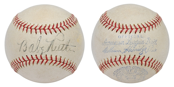 High Grade Babe Ruth Single Signed Official American League Baseball