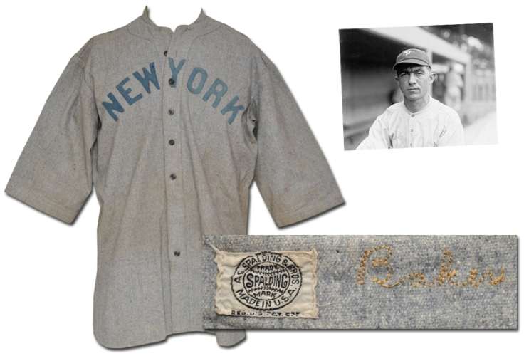 """Circa 1920 Frank """"Homerun"""" Baker NY Yankees Game-Used Road Flannel Jersey"""