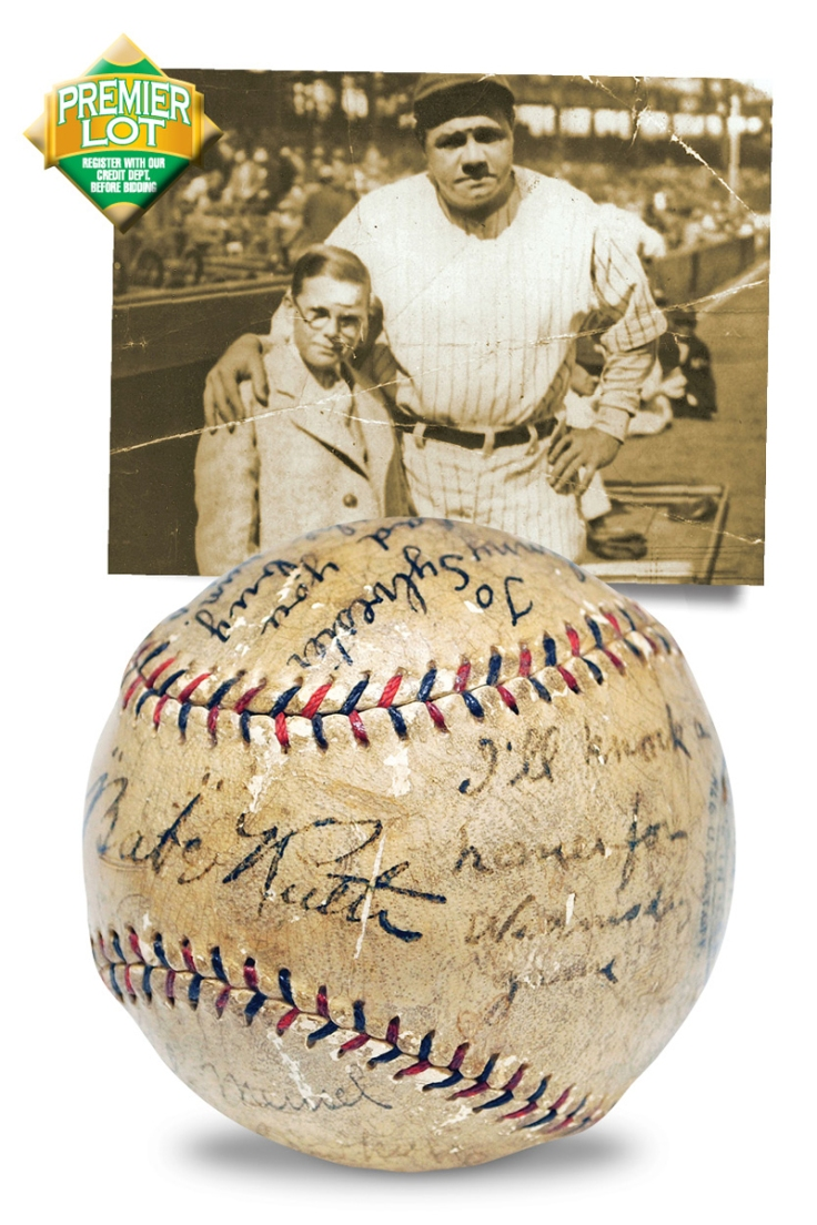 """Iconic """"I'll Knock A Homer For You"""" Baseball Presented to """"Little"""" Johnny Sylvester by Babe Ruth & The NY Yankees"""