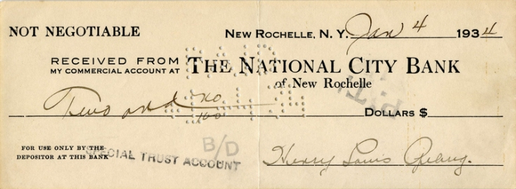 Extraordinary 1934 Henry Louis Gehrig Hand Signed Bank Note