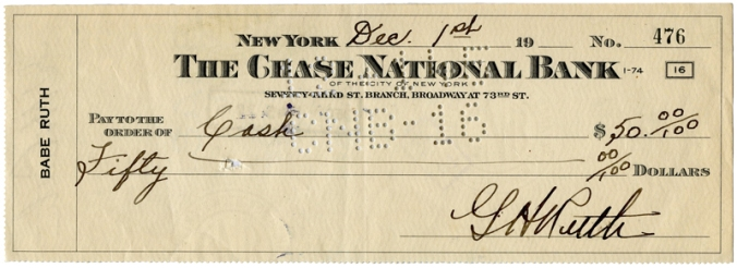 Exceptional 1945 Babe Ruth Double-Signed Personal Check
