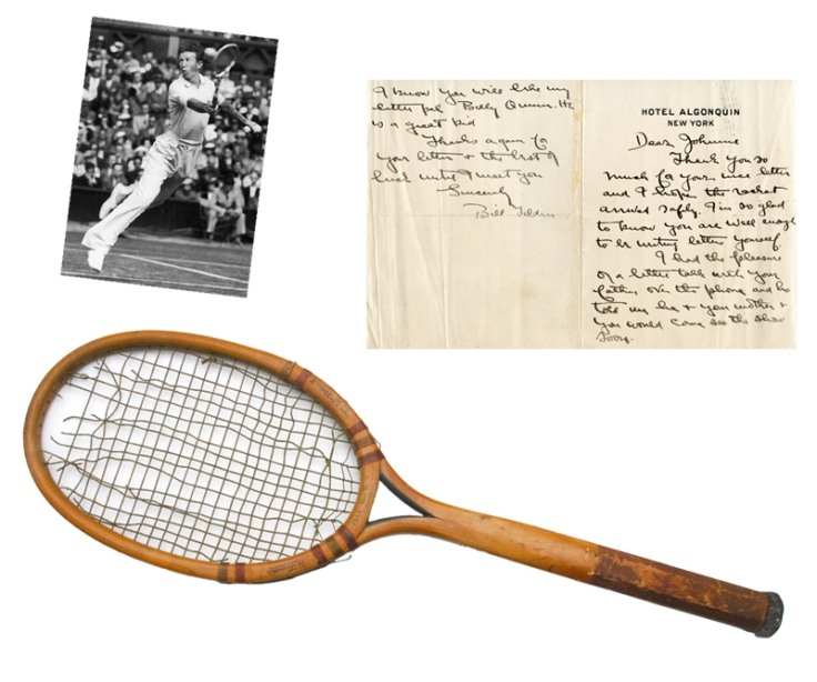 """1926 """"Big"""" Bill Tilden Tennis U.S. Open (National Championships) Tournament-Used Racquet & Hand-Written Signed Letter Presented to """"Little"""" Johnny Sylvester"""