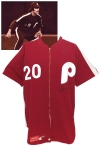 """5/19/1979 Mike Schmidt Philadelphia Phillies Game-Used & Autographed """"Saturday Night"""" Burgundy Alternate Uniform (Extremely Rare One Game Style)"""