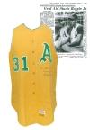 1967 Reggie Jackson Rookie Kansas City Athletics Game-Used & Autographed Home Flannel Vest