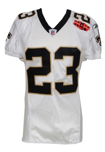 LOT #976: 2/7/2010 Pierre Thomas New Orleans Saints Super Bowl XLIV Game-Used & Autographed Complete Uniform Ensemble