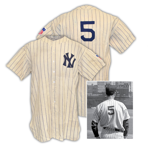 Early 1940s Joe DiMaggio New York Yankees Game-Used Home Pinstripe Flannel Jersey