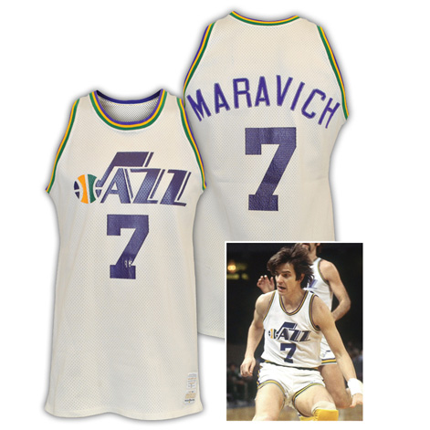 "1977-78 ""Pistol"" Pete Maravich New Orleans Jazz Game-Used Home Jersey"