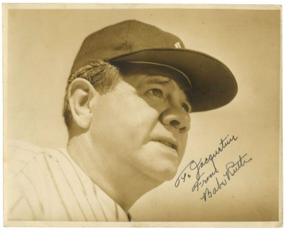 """Babe Ruth Signed 8"""" x 10"""" Type 1 Sepia Photograph"""