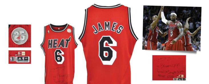 2/2/2013 LeBron James Miami Heat Game-Used & Autographed Hardwood Classic Home Jersey