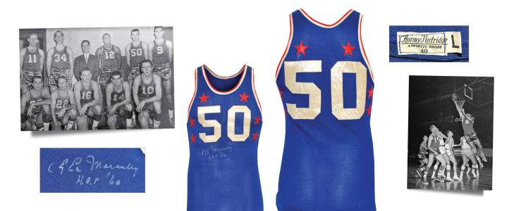"""1957 """"Easy"""" Ed Macauley NBA All-Star Game-Used & Autographed Western Conference Jersey With Stirrups"""