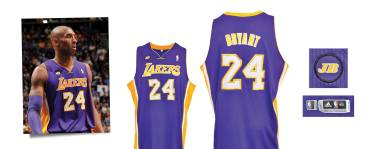 2012-13 Kobe Bryant Los Angeles Lakers Game-Used Road Jersey
