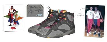 """Michael Jordan 1992 Super Bowl Commercial-Worn """"Hare Jordan"""" Space Jam Dual Autographed Air Jordan VII Sneakers"""
