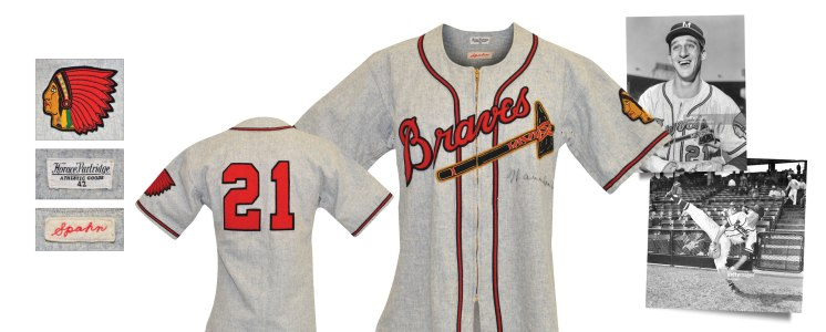 Late 1940s Warren Spahn Boston Braves Game-Used & Autographed Road Jersey