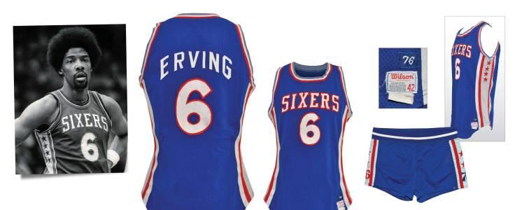 """1976-77 Julius """"Dr. J"""" Erving Rookie Philadelphia 76ers Game-Used Road Uniform"""