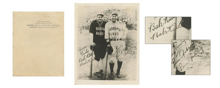 Spectacular Babe Ruth & Lou Gehrig Bustin Babes & Larrupin' Lou's Dual-Signed Photo