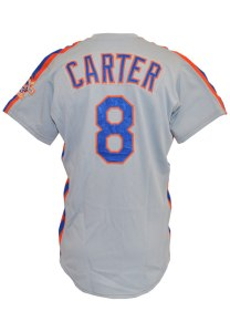 LOT #999: 1986 Gary Carter New York Mets MLB Playoffs Game-Used & Autographed Road Jersey (JSA • Championship Season)