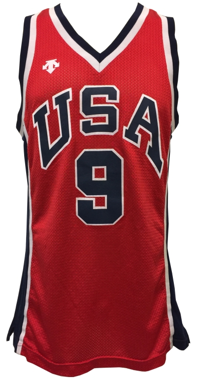 1984 Michael Jordan USA Olympic Men's Basketball Game-Used Red Jersey